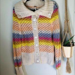 Mohair Pastel Rainbow Cardigan